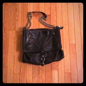 Crown Vintage Black Leather Tote